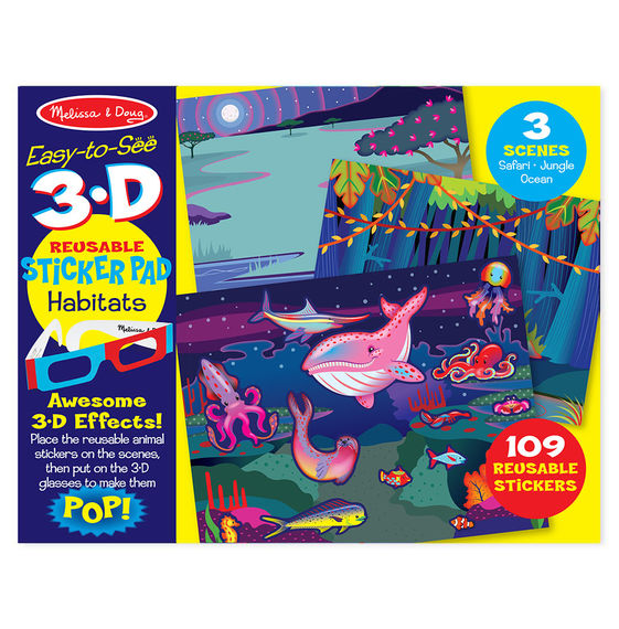 Easy To See 3 D Reusable Sticker Pad Habitats Corner Station Deli